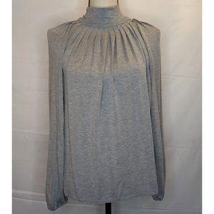 Michael Kors Gray High Neck Long Sleeve Shirt Sz L